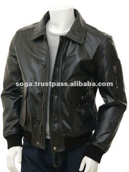 Mens Black Leather Aviator Jacket