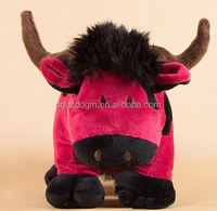 cute little red bull plush toy/custom cute plush toy for baby 3 years