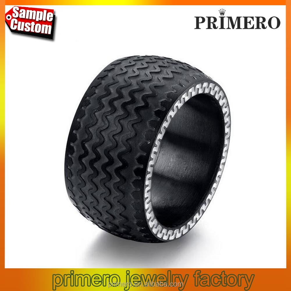 Cool Men Stainless Steel Rings Jewelry High Quality Tire Design Black Color