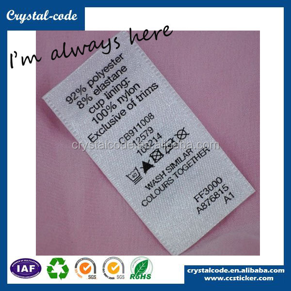 wholesale high quality polyester wash care sticker label