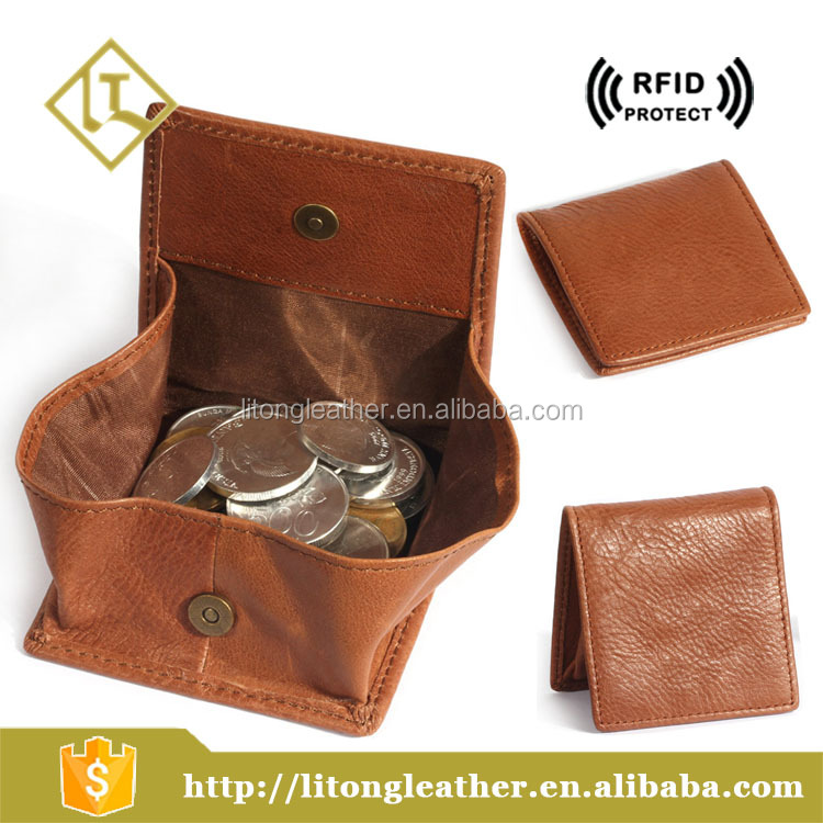 Custom genuine leather zipper button coin purse for women