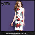 Elegant womens Rose Flower Floral Print Sleeveless O Neck Casual Party Evening Special Occasion Pencil Sheath Dress