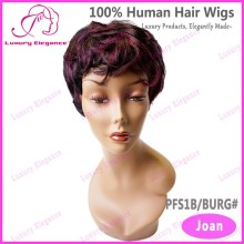 Red Highlighted Short Curly Wavy Sexi Indian Women Hair Wig Price