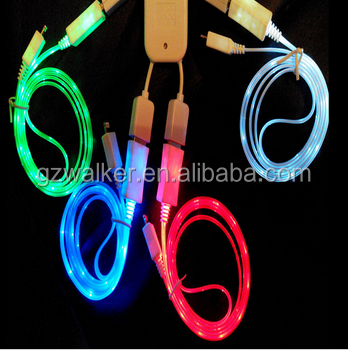 Mobile phone data sync charging led light usb cable for samsung mobile phone