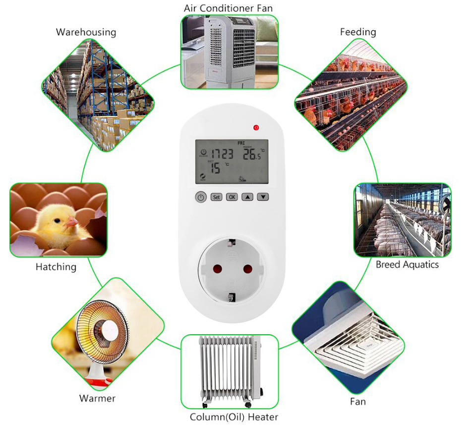 Programmable plug in thermostat for panel heater and fan heater