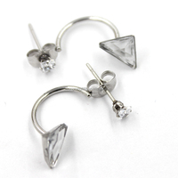 New Design popular silver stainless double crystal cuff earrings