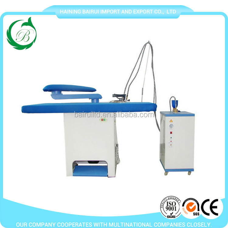 Steam heated ironing table with big suction function ironing board for laundry shop