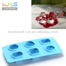 100% Food grade Romantic jewels diamond shape silicone ice cube tray