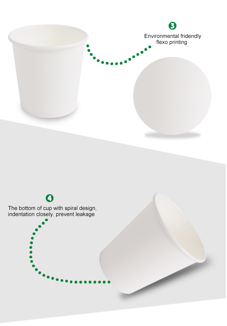 Hot sale unprinted white paper cups biodegradable coffee cups single wall milk tea cups