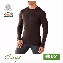 Wholesale fancy men merino wool base layer crew thermal long sleeve sports t shirt