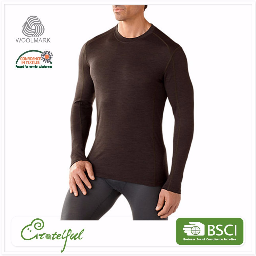 Wholesale mens merino wool thermal dry breathable long sleeve warm sports t-shirts