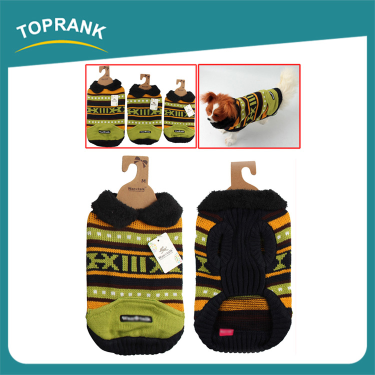 Fashion design green letter knitted dog sweater winter pet clothes