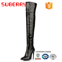 SUBERRY Stiletto Heels Platform Over The Knee Boots 10CM High Heels Women Boots Big Size 43 Autumn Winter Ppatent Boots Ladies