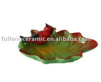 Christmas home decorative maple leaf ceramic plate