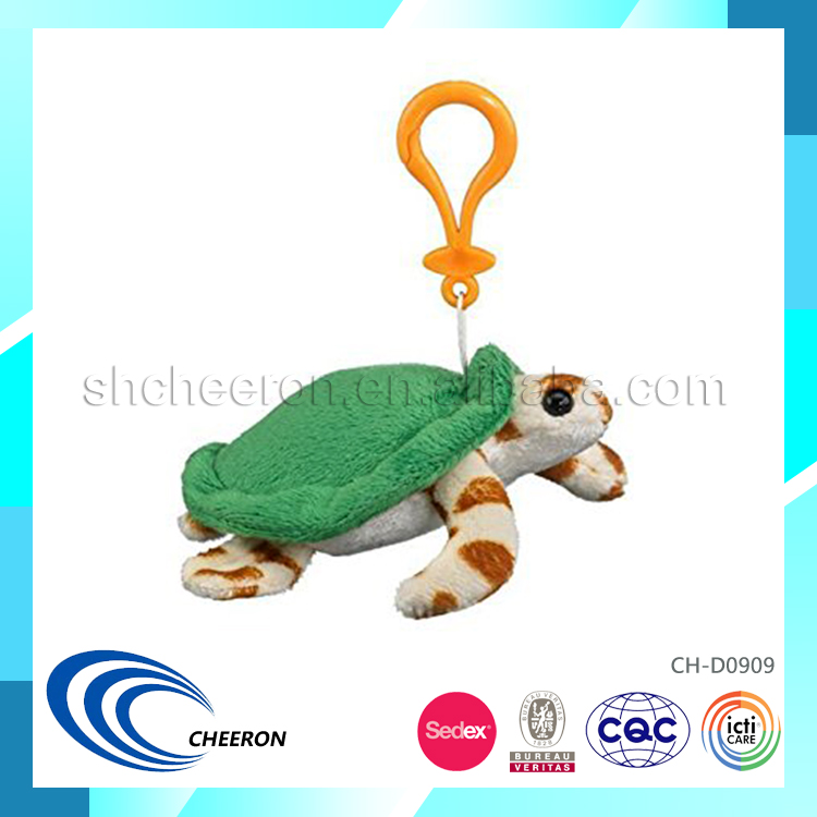 Green turtle sea animal soft plush keychain toy