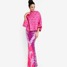 China Suppliers OEM Muslim Dress Printed Design Baju Kurung Peplum Malaysia