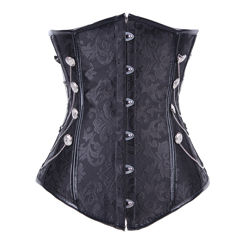2015 Hot Plus Size Sexy Waist Training Corsets With Chain Waist Trainer Black Corsets And Bustiers Fashion Sexy Corset  -D