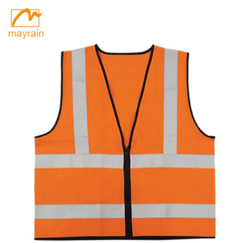 high visibility 100%polyester safety vest with 2 horizontal tapes