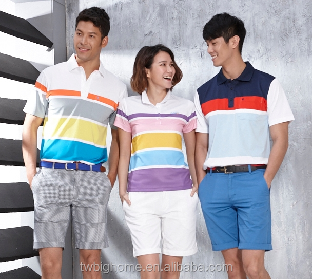 Colorful stripes casual short-sleeved jacquard unisex polo <strong>shirt</strong>