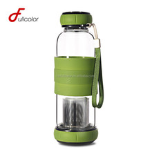 BPA free glass water bottle with tea infuser and slicone sleeve good quality