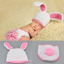 2015 Long Ear Rabbit Baby Handmade Knitted Wool Hats Two Suit