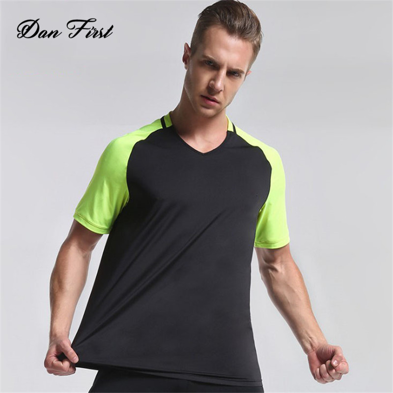 Summer Short Sleeve T-Shirt Gym Sports Wear V-Neck High Quality Men's Tops Latest <strong>Design</strong>
