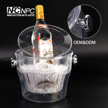 China Wholesale Clear Plastic Custom ice bucket with lid and tongs