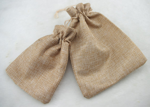 MagiDeal Lot Of 10 Linen Jute Sack Jewelry Pouch Drawstring Gift Bags Christmas Favor - 12 x 10cm  jute gift bag for two jars