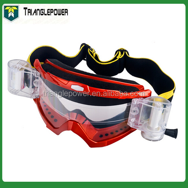 Adult Goggles Red Motorcross Goggle with solid roll off system on lens