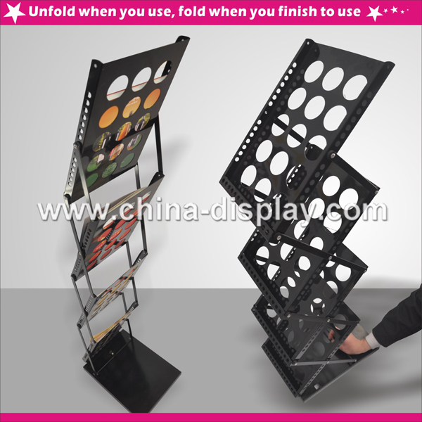 3-pocket brochure holder Useful Commercial iron Leaflet Bracket stand
