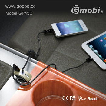 Super Quality 3 Port USB Car Charger With Cable Custom logo Welcomed for iPhone/iPad/Samsung