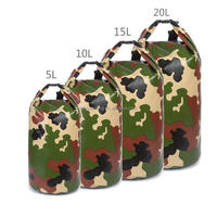 Wholesale PVC tarpaulin camouflage waterproof dry bag with shoulder strap for Boating Camping Hiking