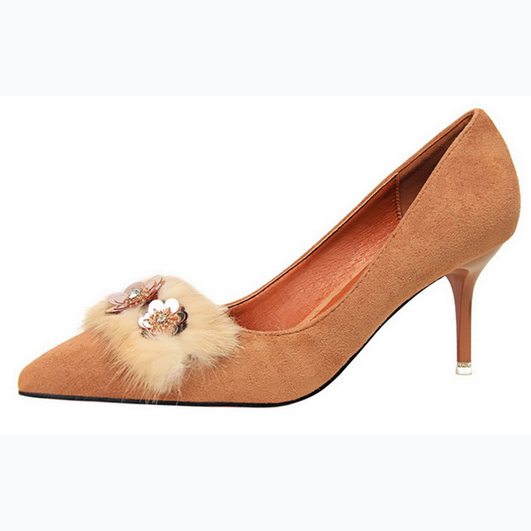 Women pump china dress bulk wholesale animal pointed toe autumn winter office lady heel shoes paillette