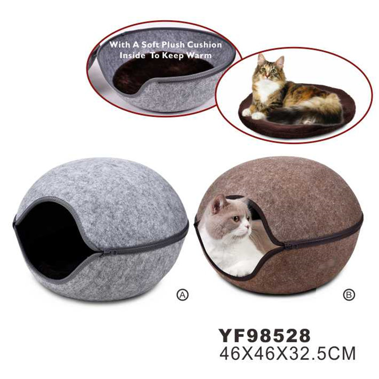 China Manufacturer Grey Window Felt Cat Bed With Removable Cover