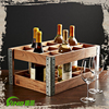 Shabby Chic Custom Portable Wooden Display Rack Beer Csae,Vintage Handmade Metal Wine Storage Rack,Champagne Wood Bottle Holder