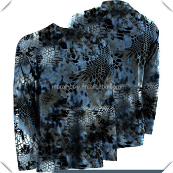 unique outdoor sublimation printing camo Performance Long Sleeve fishing Shirt made by anti-microbial fabric SPF 30 protection