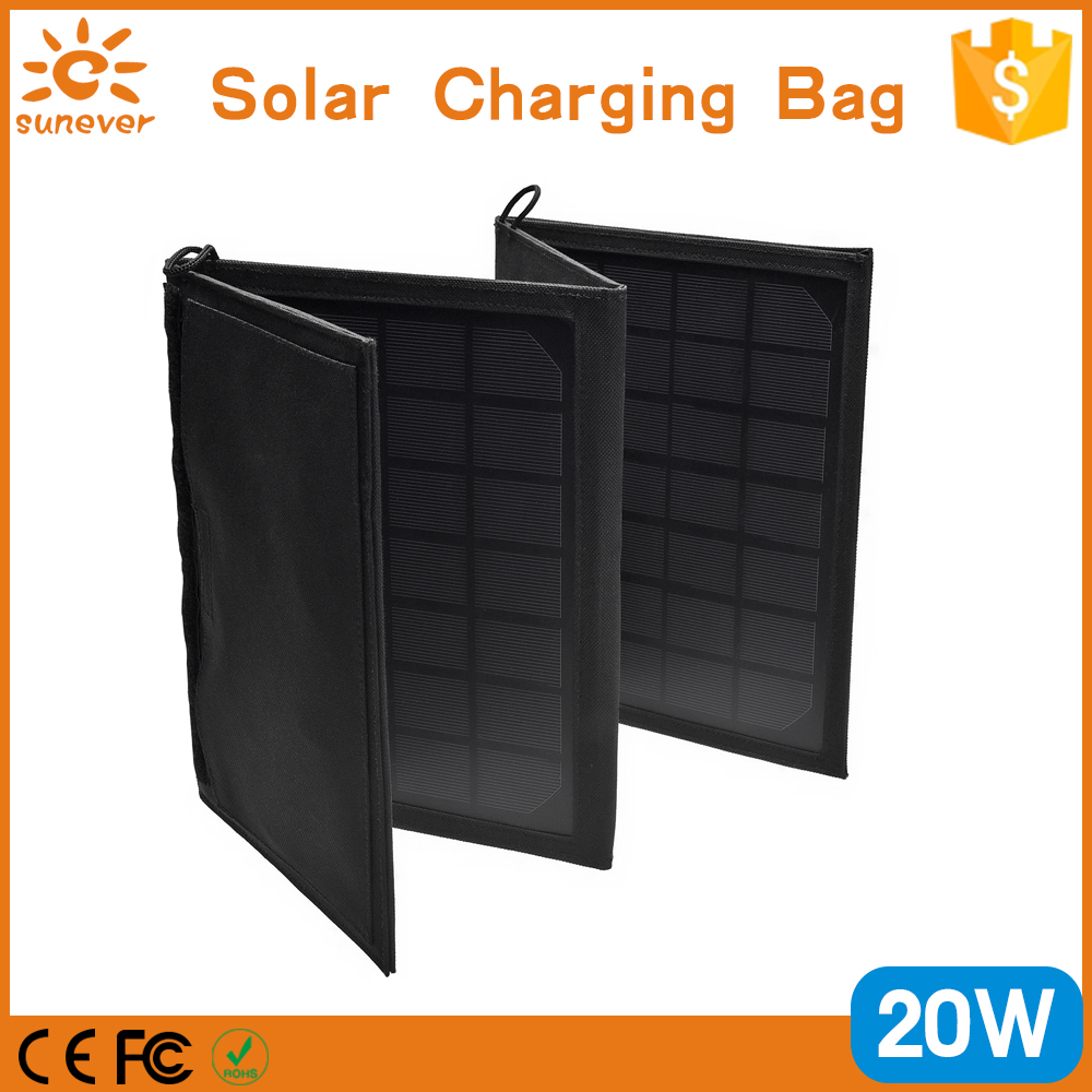 New fashion outdoor functional travel 20W solar panel charger bag for mobile phone and laptop