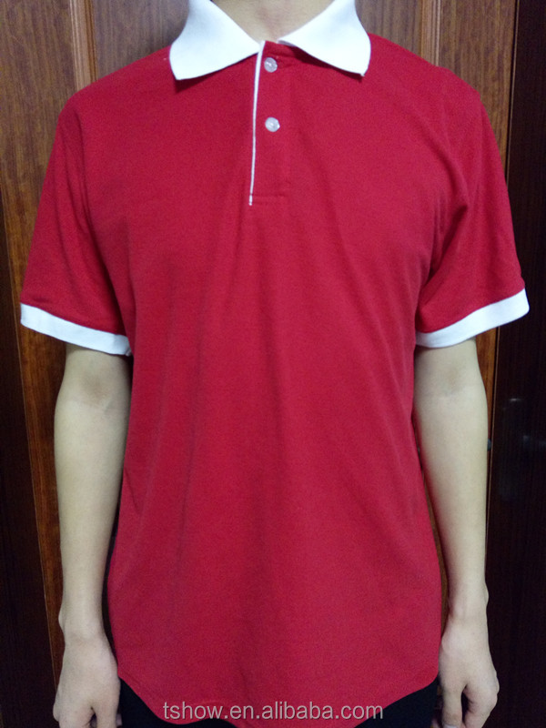 red with white collar polo t-shirts cheap promotion use cotton polyester POLO