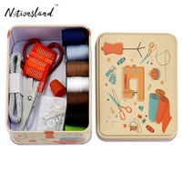 small metal tin Box Sewing Kit for kid with 53pcs all craft Accessories