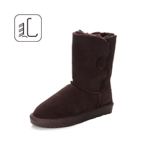 Wholesale durable warm ladies leather boots shoes women leather boots