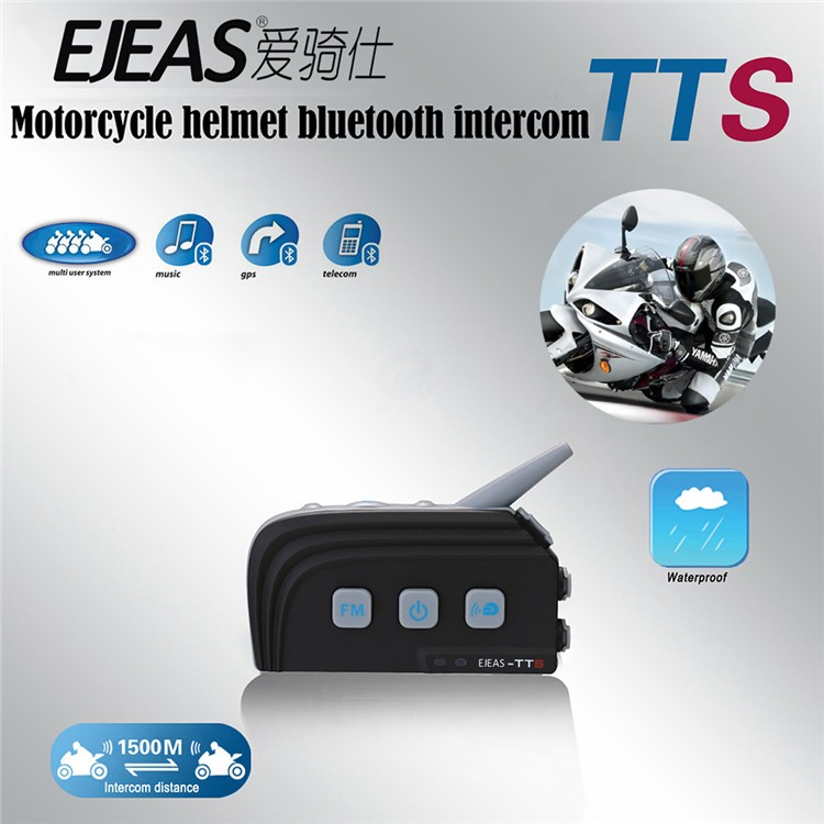 2016 Vnetphone/EJEAS TTS 4 Riders 1500m Talking Voice multitask Waterproof Bluetooth Conference Communication System