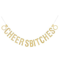 Cheers Bitches Banner Bachelorette Decorations Hen Party Bunting Gold Glitter Paper Cards Flag Garland