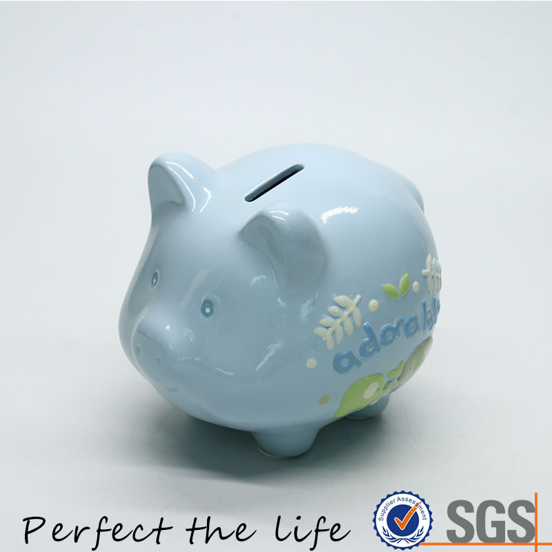 Ceramic Pig Shaped Piggy Coin Bank for Kid