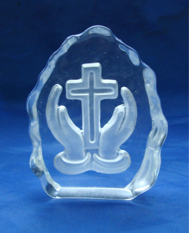 2014 new arrival religious glass cross paperweight