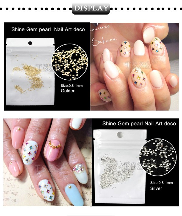 Super mini Gold Silver electroplate Half Round Studs Nail Art Decorations