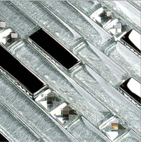 Glass mix stainless steel strip mosiac tile