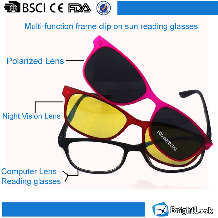 Clip-on sunglasses,magnetic system frame,polarized yellow lenses PC clip on reading glasses