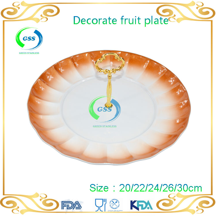 Stainless steel fruit tray 3-tier dessert plate tray wedding cake stands