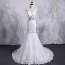 Robe de Mariage 2018 Beading Bridal Gown Open Back Lace Pattern Mermaid Wedding Dresses Under 100