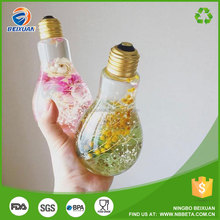200-800ml plastic Light bulb bottle pet water bottle smoothie bottle for dried flower
